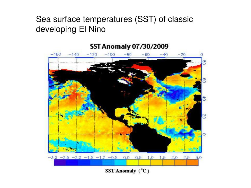 Sea surface temperatures (SST) of classic developing El Nino
