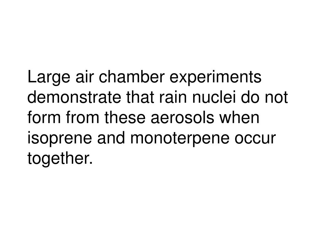 Large air chamber experiments demonstrate that rain nuclei do not form from these aerosols when isoprene and monoterpene occur together.