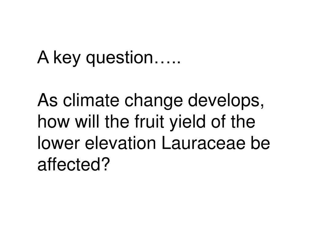 A key question..