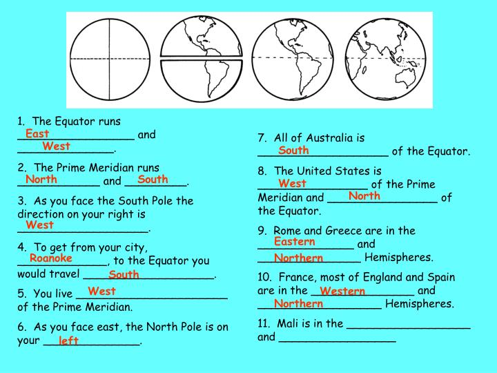 1.  The Equator runs _________________ and ______________.
