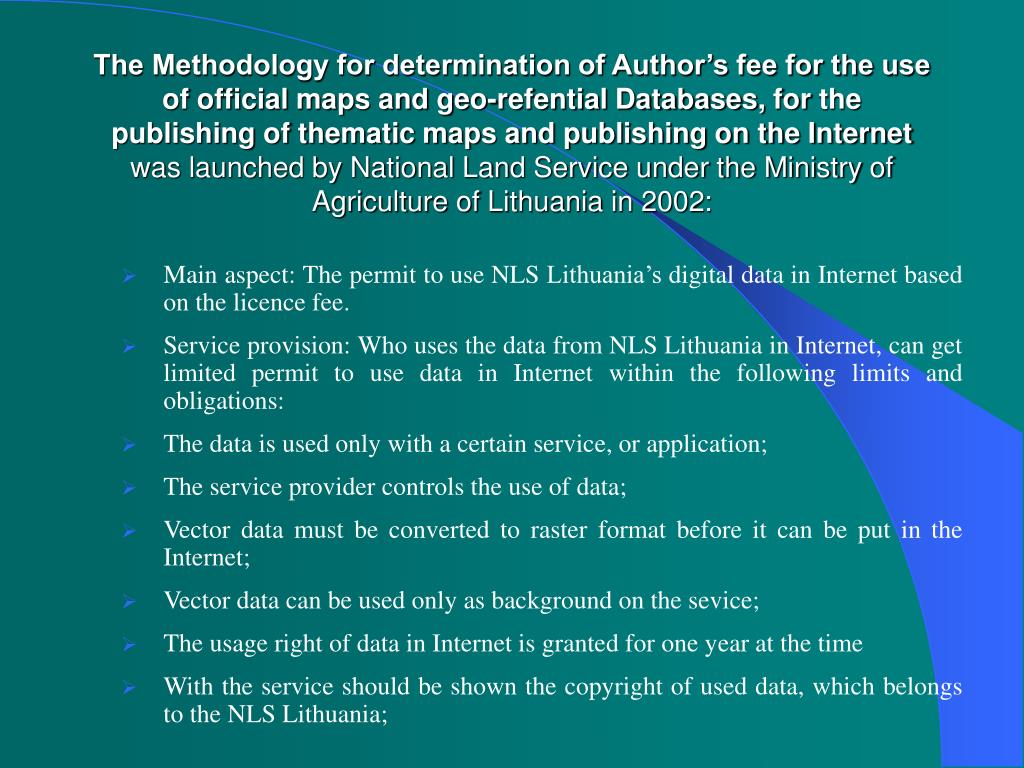 The Methodology for determination of Author's fee for the use of official maps and geo-refential Databases