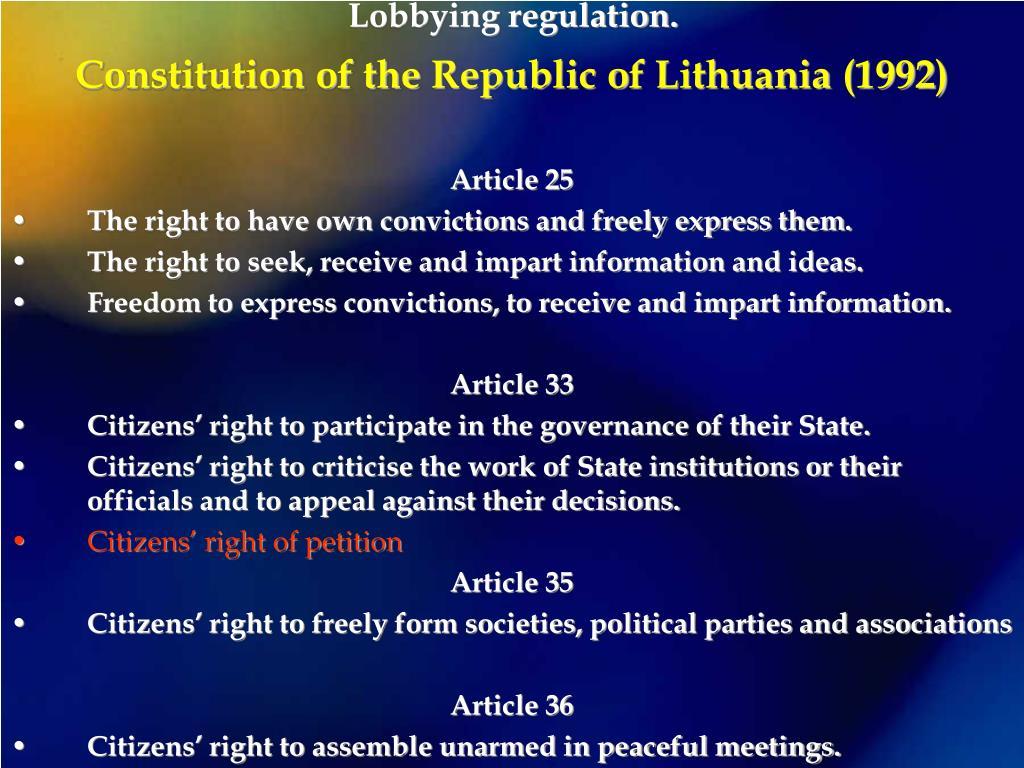 Lobbying regulation.