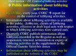 short review iii control of lobbying activities21