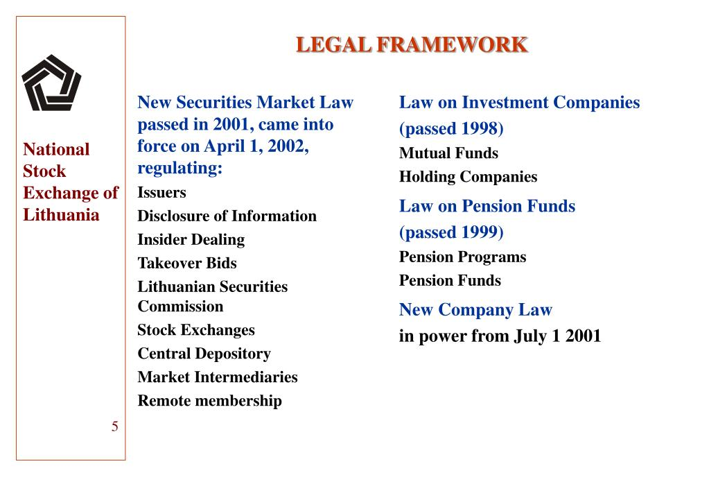 New Securities Market Law  passed in 2001, c