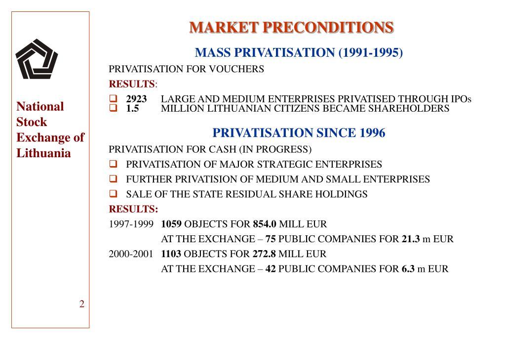 MARKET PRECONDITIONS
