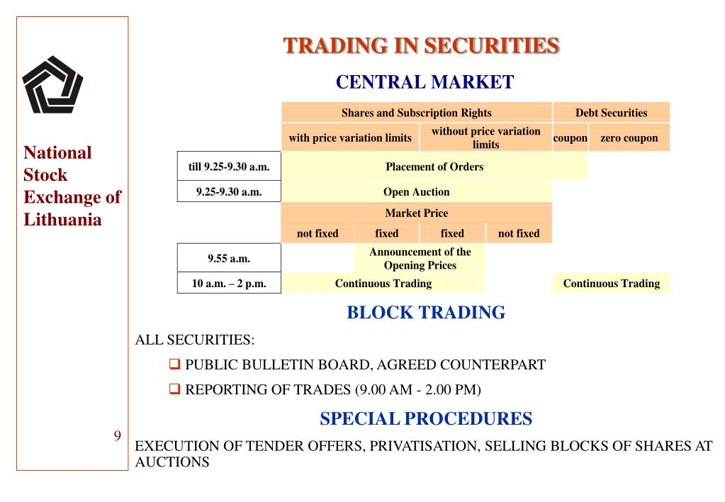 TRADING IN SECURITIES