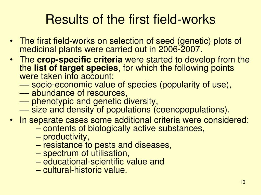 Results of the first field-works
