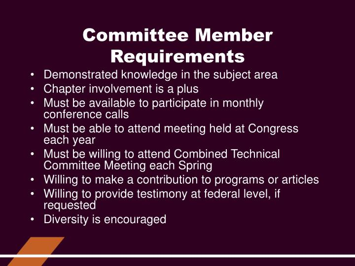 Committee Member Requirements