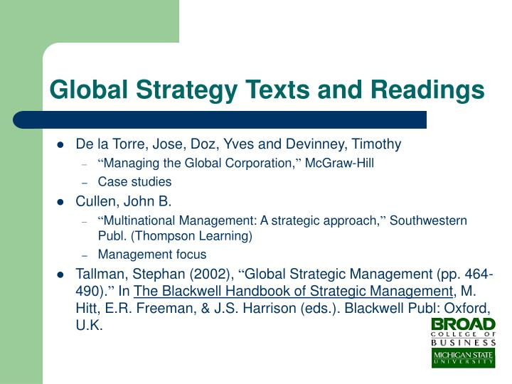 Global Strategy Texts and Readings