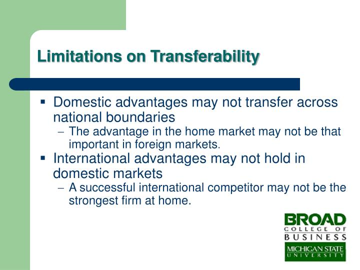 Limitations on Transferability