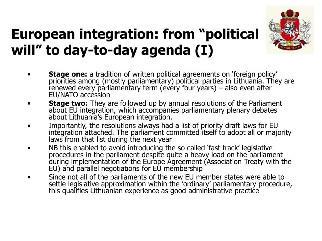 "European integration: from ""political will"" to day-to-day agenda (I)"