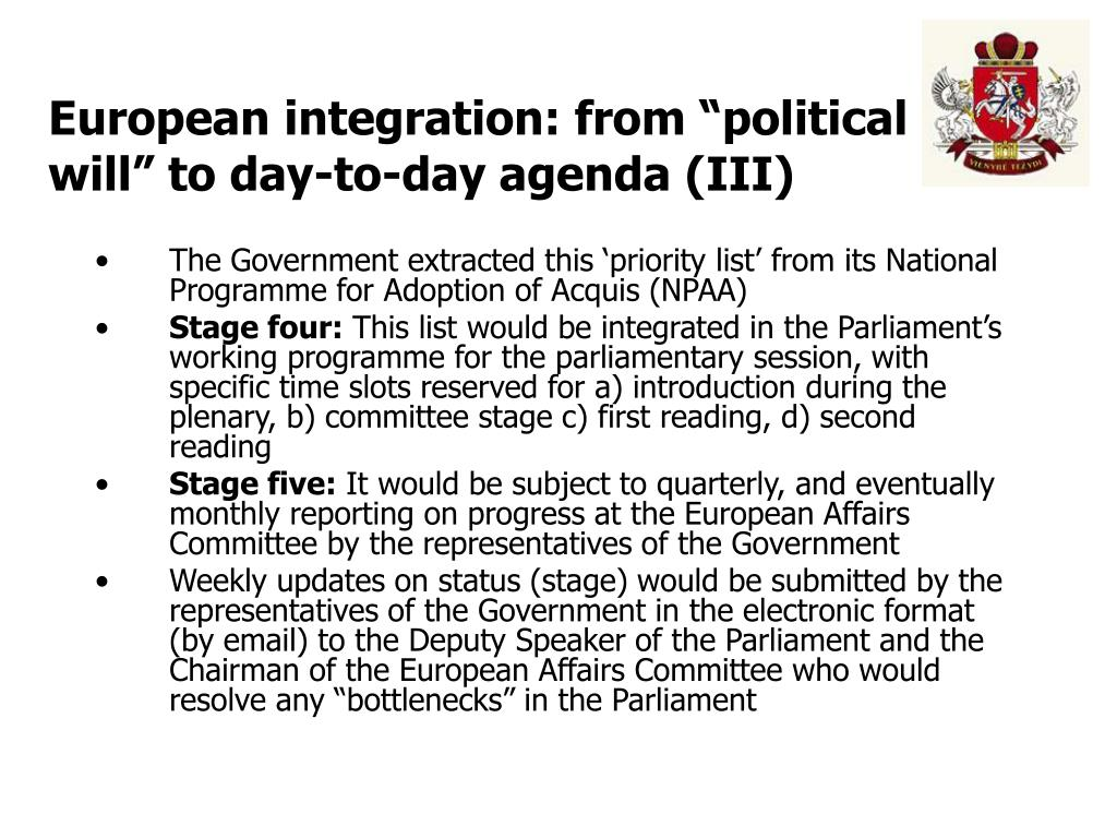 "European integration: from ""political will"" to day-to-day agenda (III)"