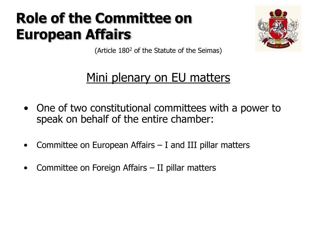 Role of the Committee on