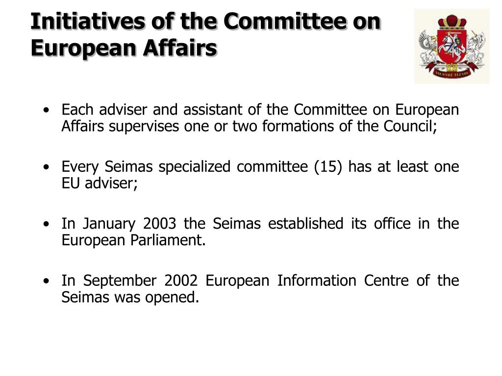 Initiatives of the Committee on European Affairs