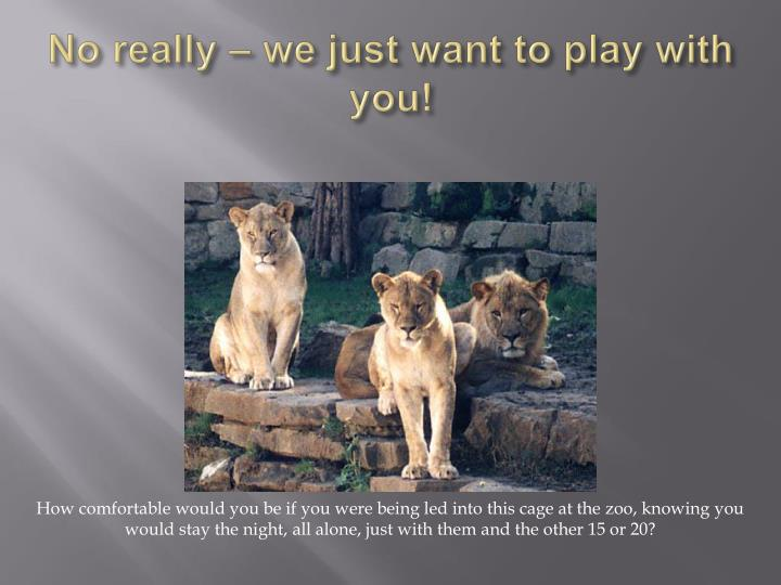 No really – we just want to play with you!