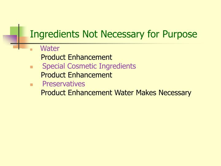 Ingredients Not Necessary for Purpose