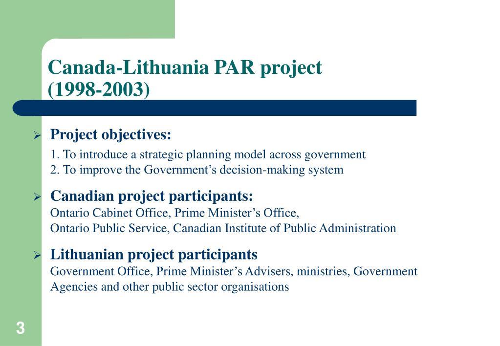 Canada-Lithuania PAR project