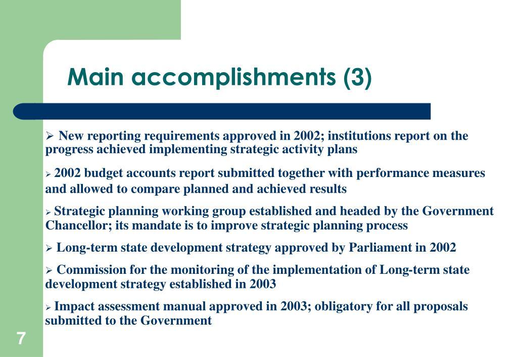 Main accomplishments