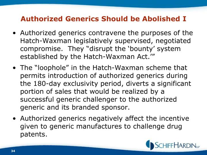 Authorized Generics Should be Abolished I