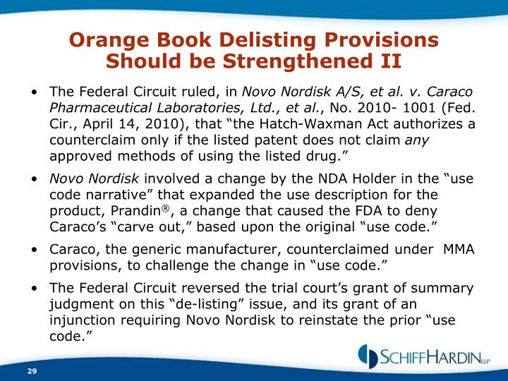 Orange Book Delisting Provisions Should be Strengthened II