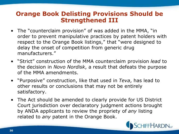 Orange Book Delisting Provisions Should be Strengthened III