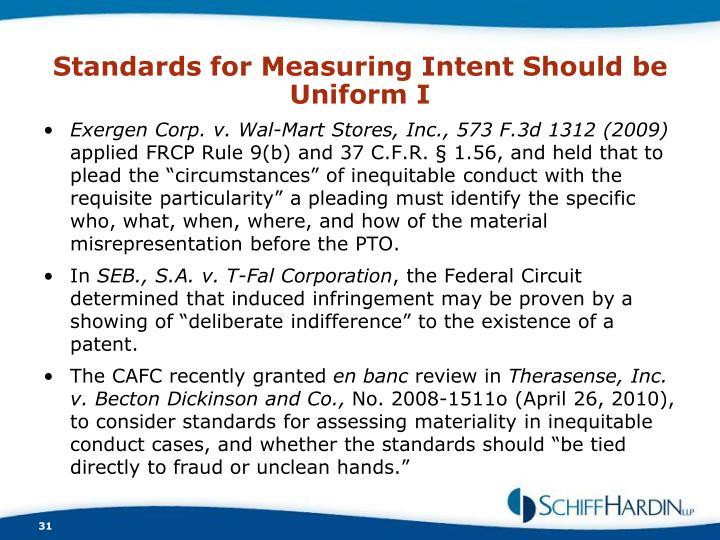 Standards for Measuring Intent Should be Uniform I