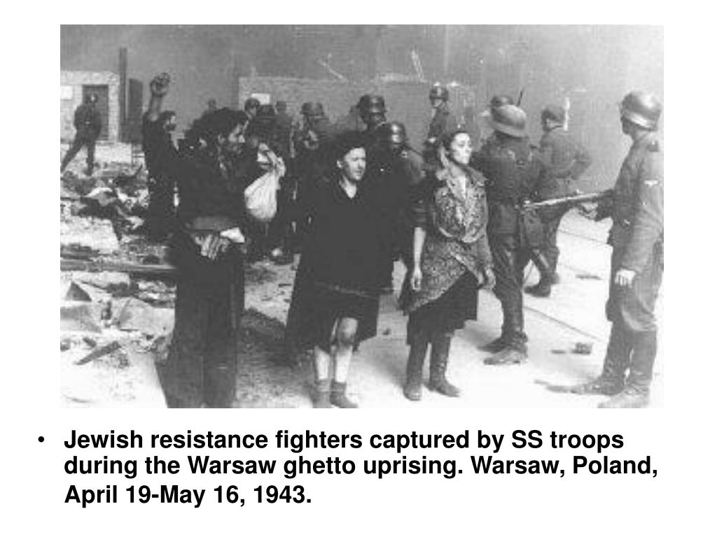 Jewish resistance fighters captured by SS troops during the Warsaw ghetto uprising. Warsaw, Poland, April 19-May 16, 1943.