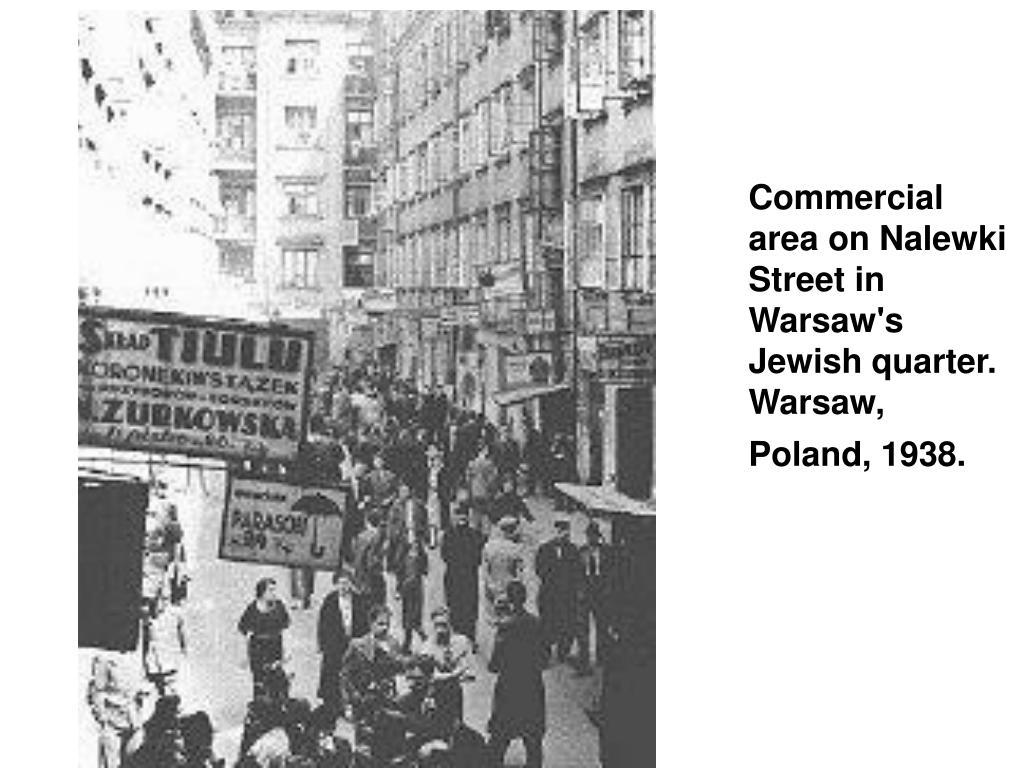 Commercial area on Nalewki Street in Warsaw's Jewish quarter. Warsaw, Poland, 1938.