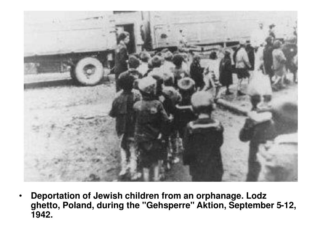 "Deportation of Jewish children from an orphanage. Lodz ghetto, Poland, during the ""Gehsperre"" Aktion, September 5-12, 1942."