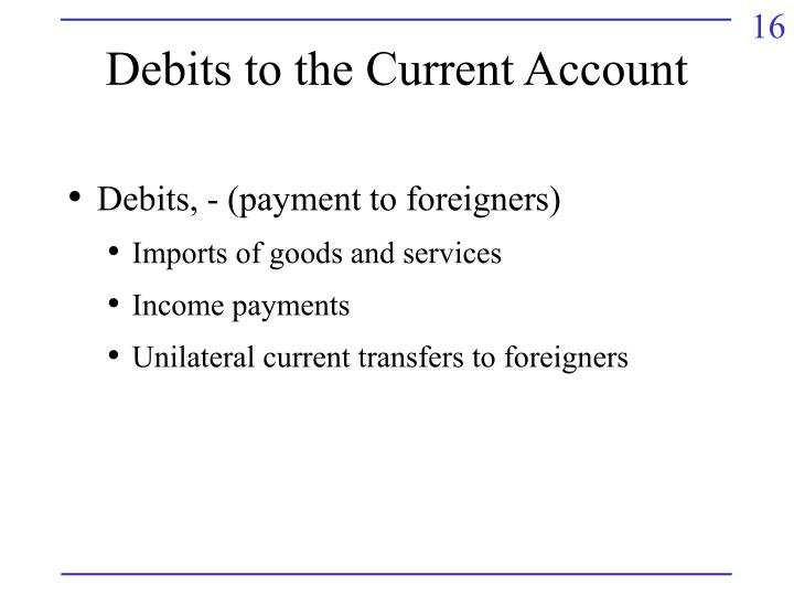 Debits to the Current Account