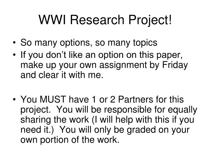 WWI Research Project!