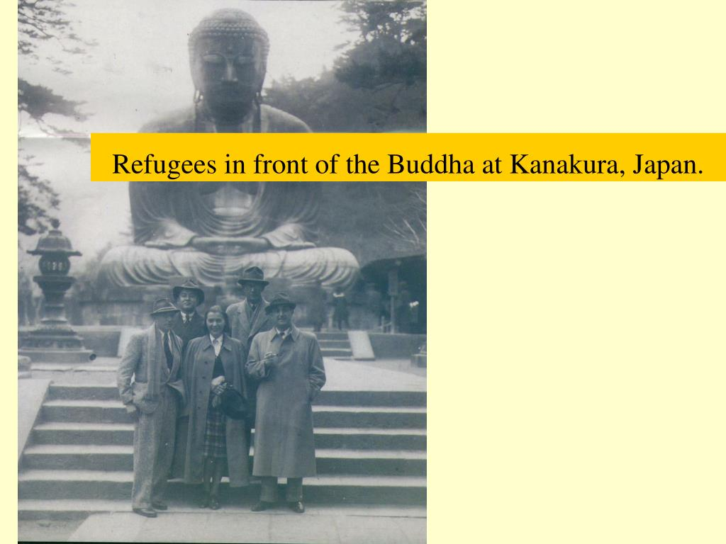 Refugees in front of the Buddha at Kanakura, Japan.