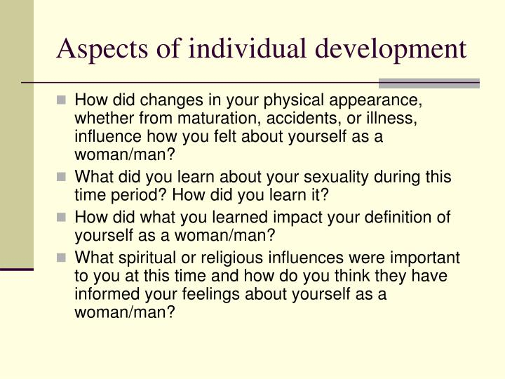 Aspects of individual development