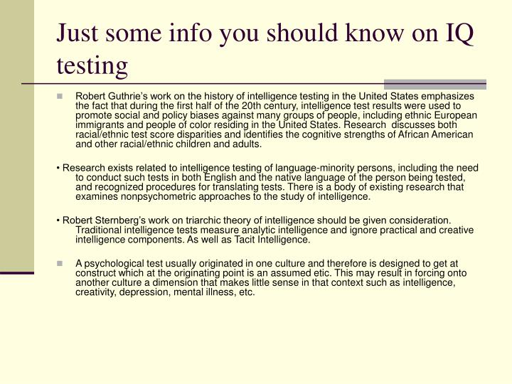 Just some info you should know on IQ testing