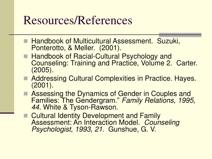Resources references