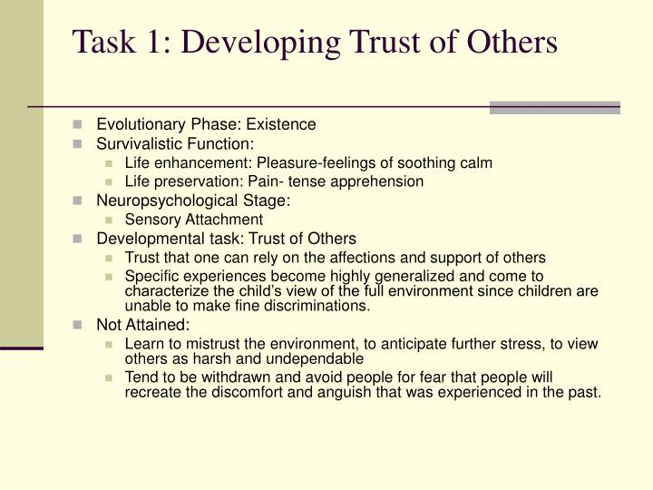 Task 1: Developing Trust of Others