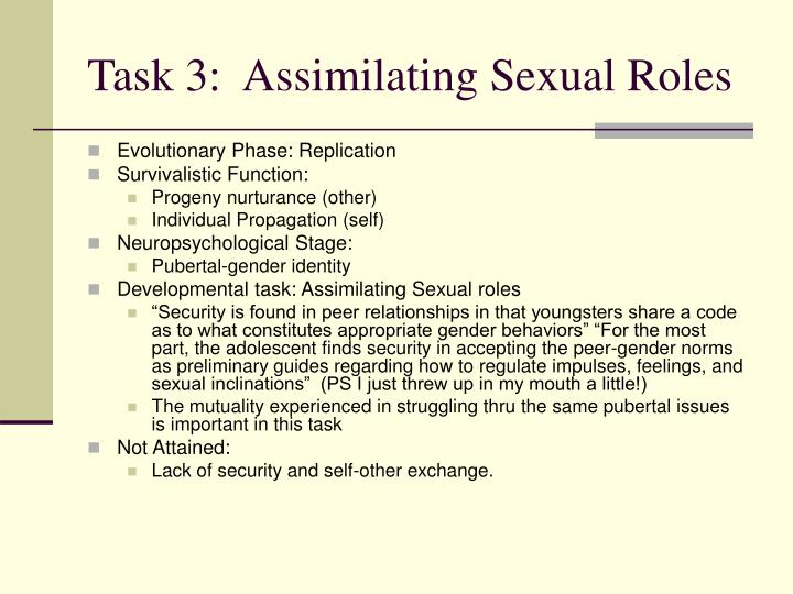 Task 3:  Assimilating Sexual Roles