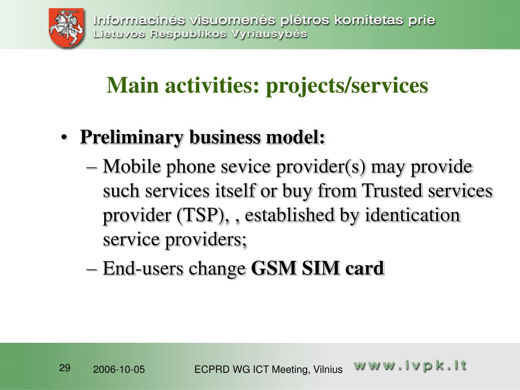 Main activities: projects/services
