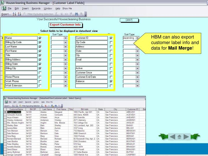 HBM can also export customer label info and data for