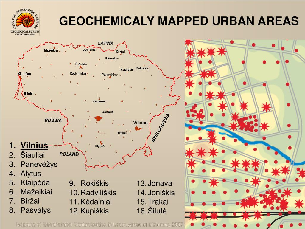 GEOCHEMICALY MAPPED URBAN AREAS