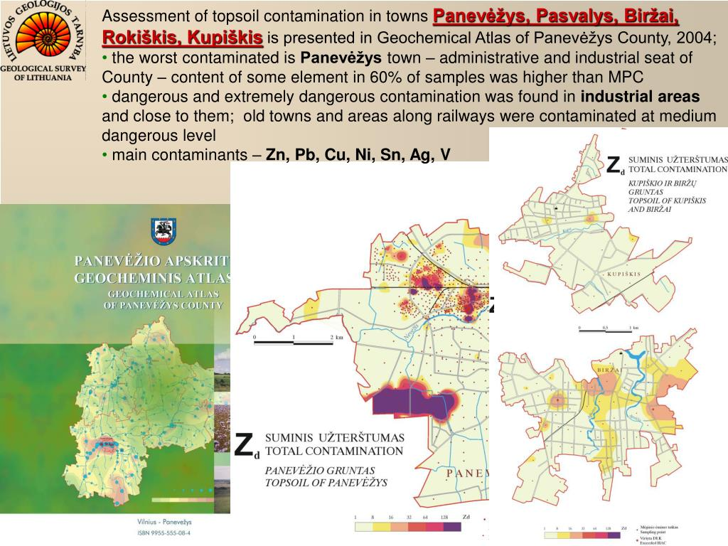 Assessment of topsoil contamination in towns