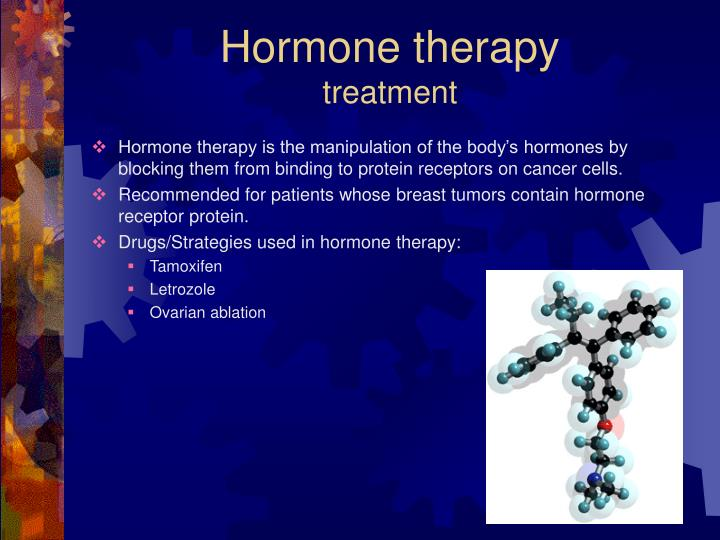 Hormone therapy is the manipulation of the body's hormones by blocking them from binding to protein receptors on cancer cells.
