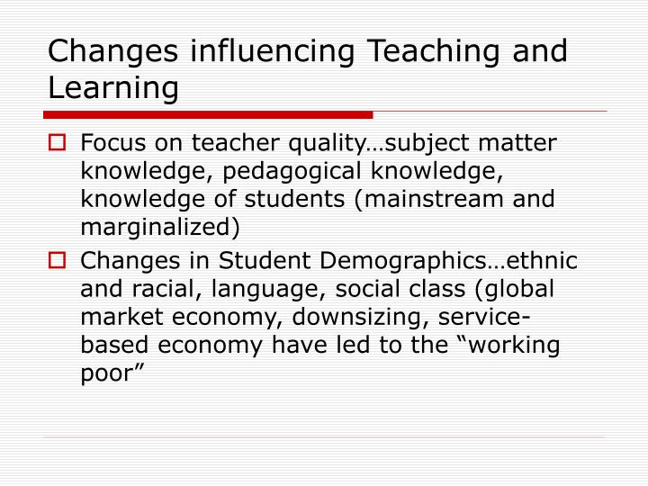 Changes influencing Teaching and Learning