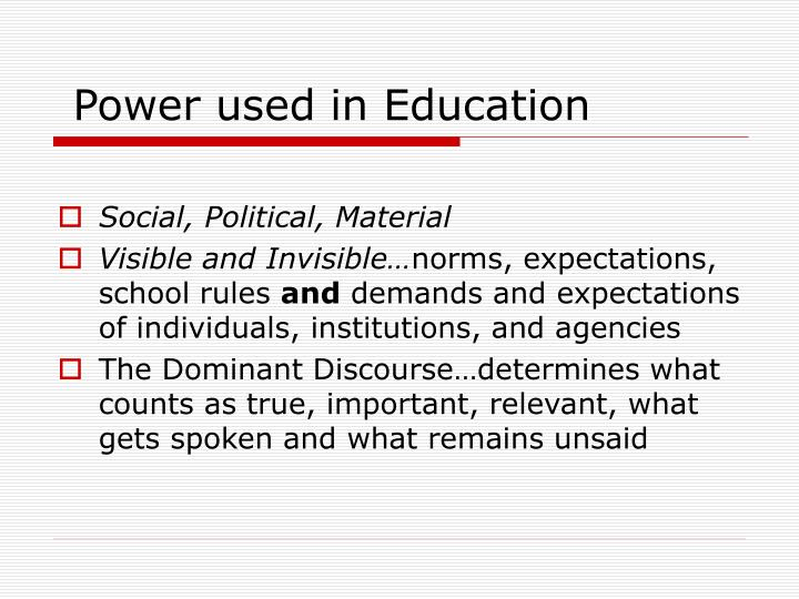 Power used in Education