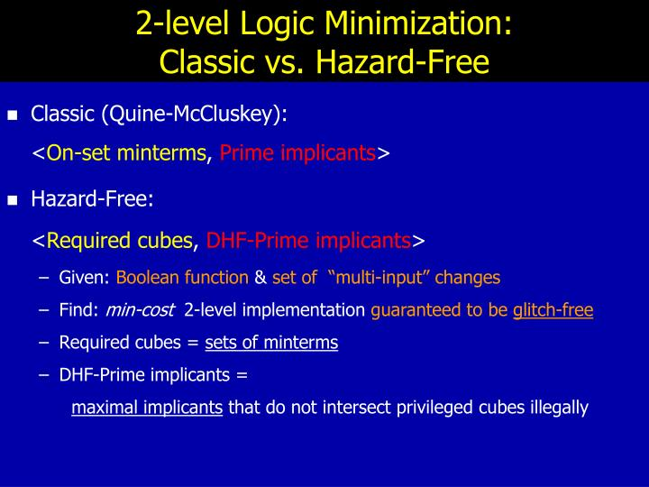2-level Logic Minimization: