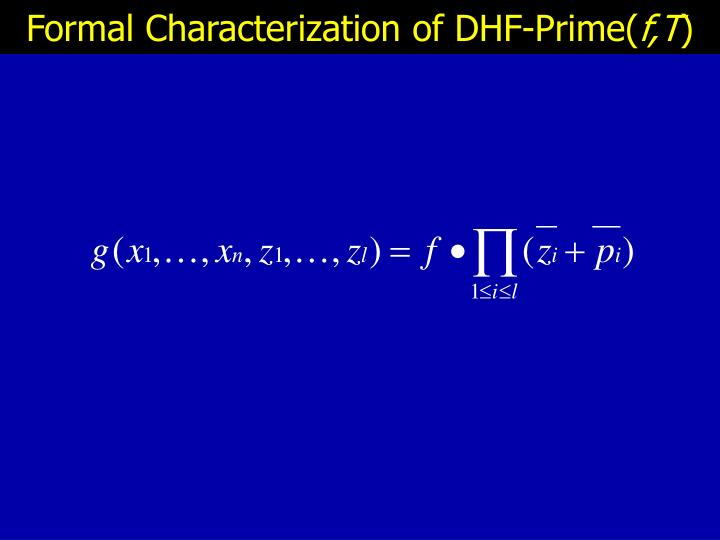 Formal Characterization of DHF-Prime(