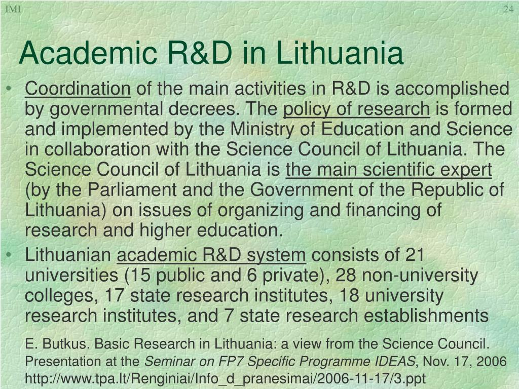 Academic R&D in Lithuania