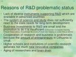 reasons of r d problematic status
