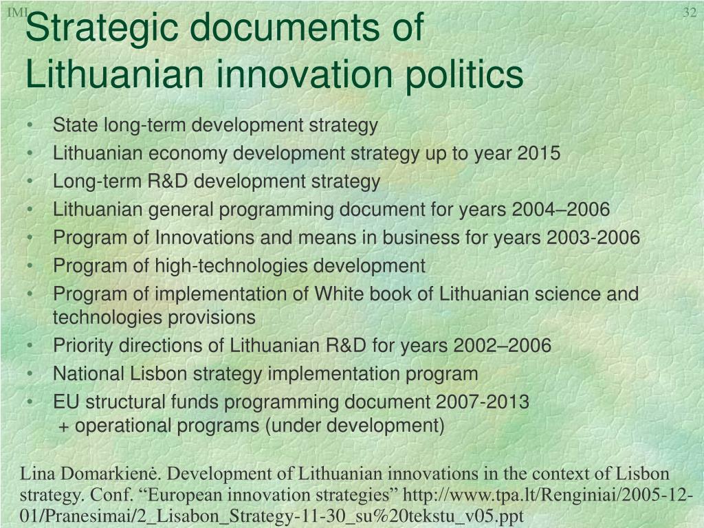 Strategic documents of