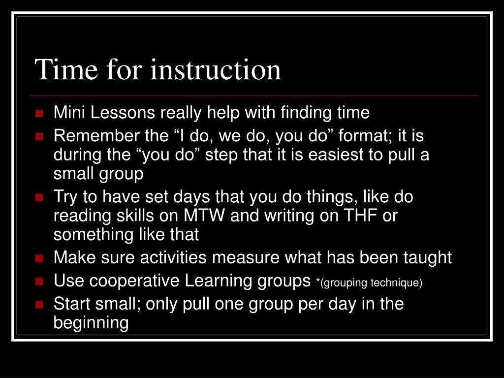 Time for instruction